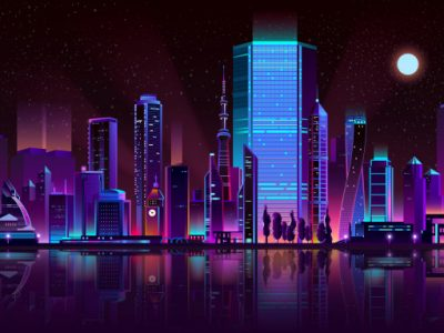 metropolis night skyline neon color cartoon vector 1441 3162