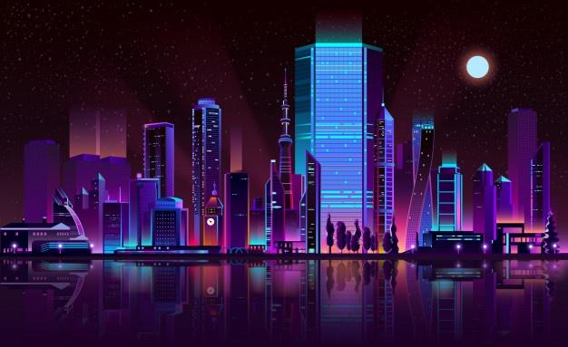 metropolis night skyline neon color cartoon vector 1441 3162