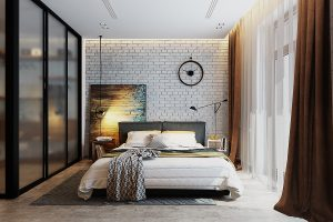 chic brick bedroom walls