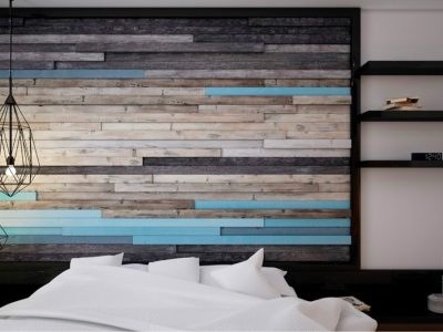turquoise painted wall plank